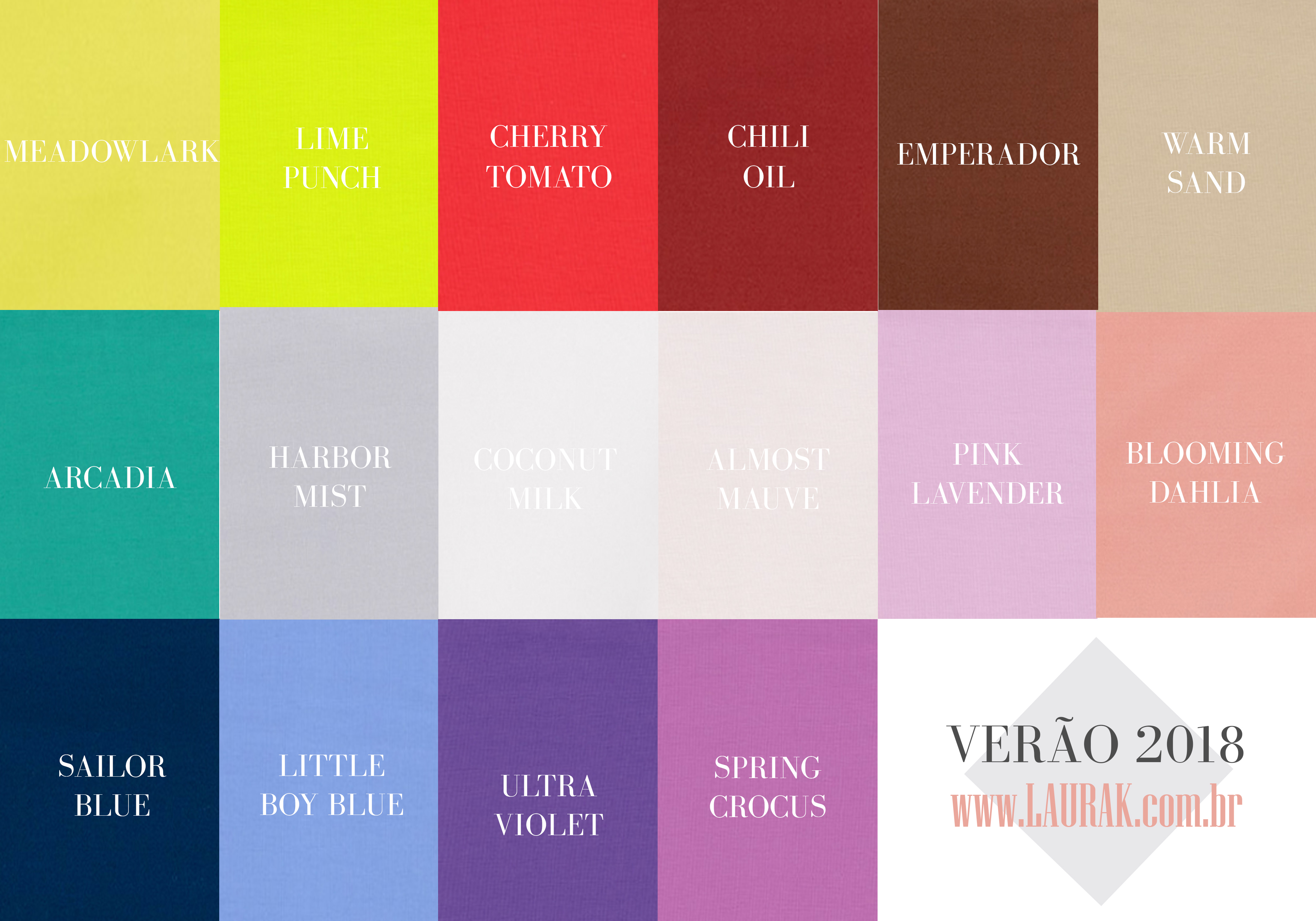 As 16 cores oficiais do ver o 2018 laurak for Pantone 2017 2018
